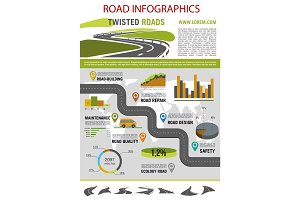 Road construction infographic template design