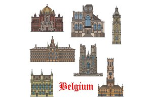 Belgian travel landmarks icon for tourism design