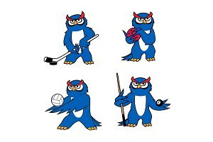 Owl bird mascot for sport club or team design