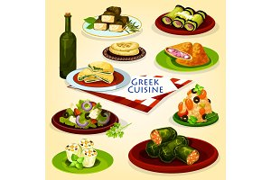Greek cuisine healthy lunch cartoon poster
