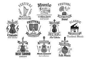 Music instrument emblem for musical design