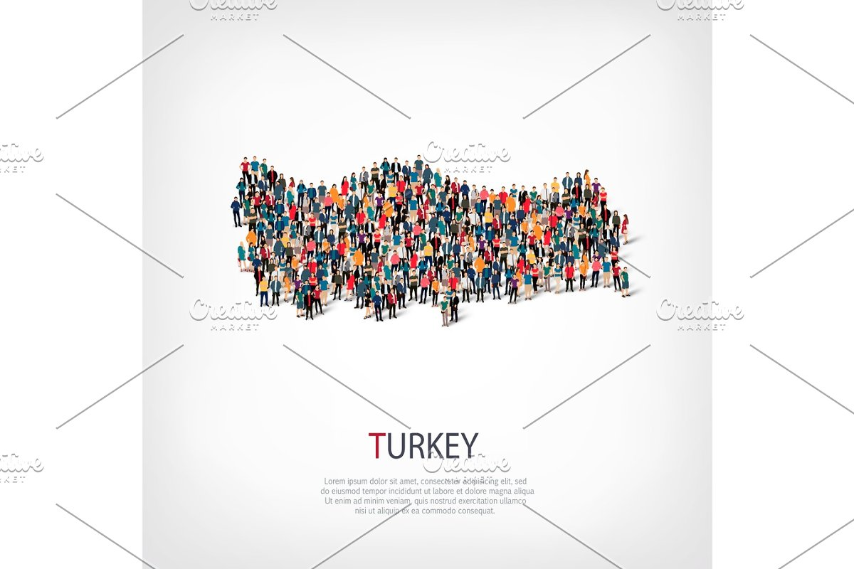 people map country Turkey vector ~ Illustrations ~ Creative Market