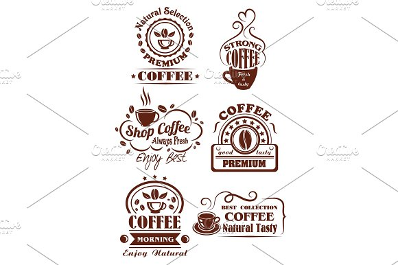 Coffee Cup Brown Icon For Cafe Label Design