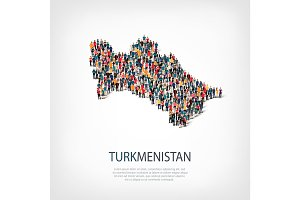people map country Turkmenistan vector