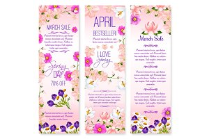 Spring holiday sale vector banners set of lowers