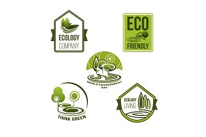 Eco business and green living icon, ecology design