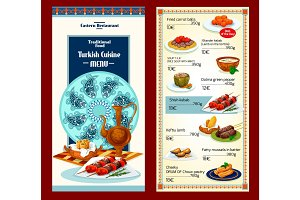 Turkish cuisine restaurant menu template design