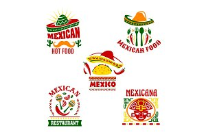 Mexican fast food restaurant emblem set design
