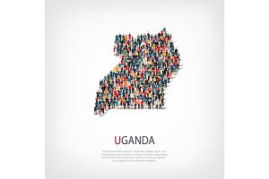 people map country Uganda vector