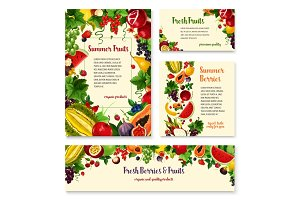 Fruit, berry banner template set for food design