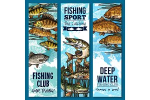 Fishing sport club banner set with swimming fish
