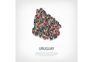 people map country Uruguay vector
