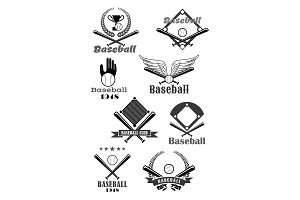 Baseball sport club symbol design with bat, ball