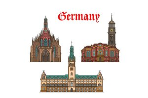 German travel landmarks icon of church, city hall