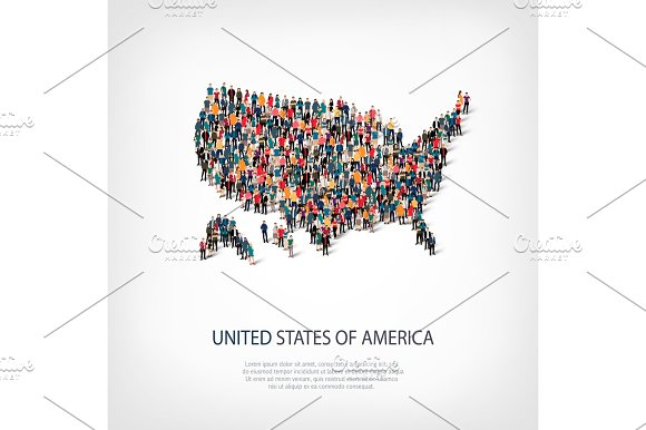 People Map Country America USA Vector
