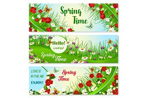 Vector banners with spring time greeting quotes