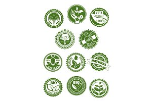 Eco green, natural, bio organic product symbol set