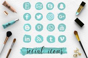 Social Media Icons & Strokes - Mint