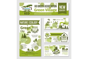 Green city, eco business banner template design