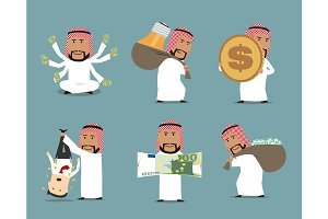 Rich arab businessman with money character set