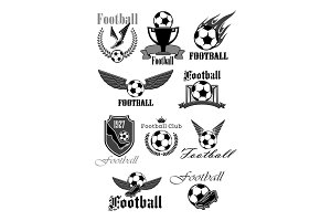 Football or soccer sport club isolated symbol set