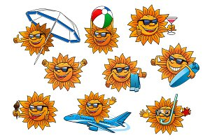 Happy summer sun cartoon mascot set
