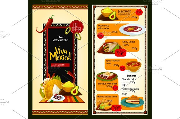 Mexican cuisine restaurant menu template