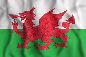 Wales flag waving