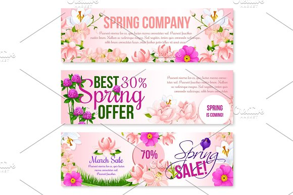 Spring sale holiday shopping vector floral banners
