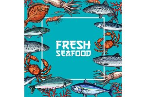 Fresh seafood and fish sketch poster design