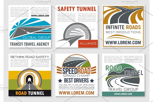 Road travel and traffic safety flyer template in Graphics