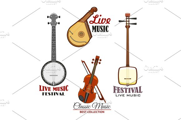 Musical instrument icon for music concert design