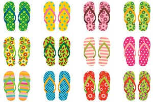 Colorful flip flops clip art set