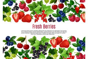 Berry and fruit cartoon poster template design