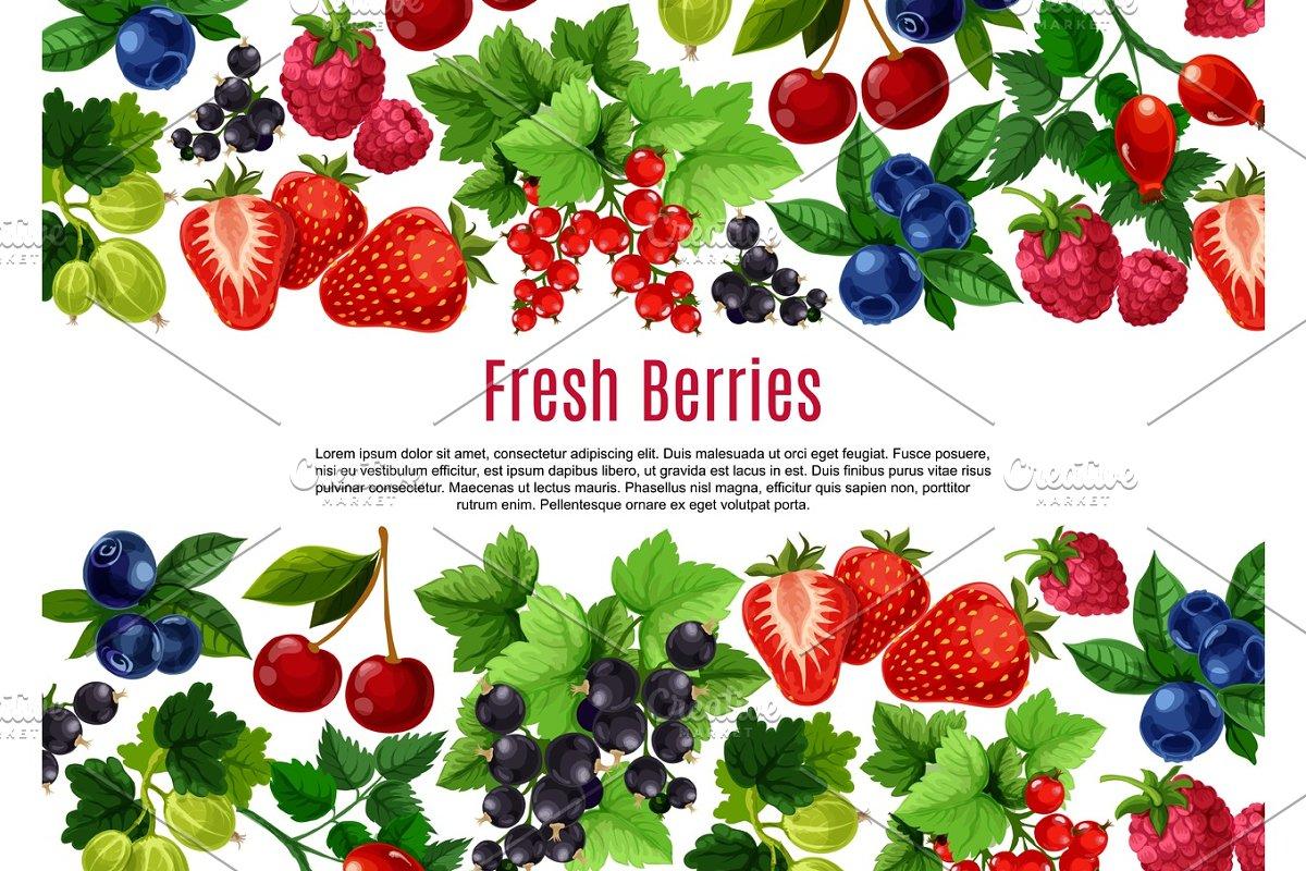 Berry and fruit cartoon poster template design