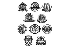 Nautical emblem and marine heraldic badge set