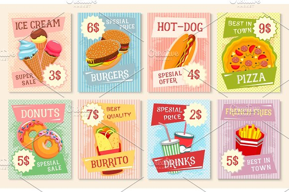 Fast food lunch menu poster template
