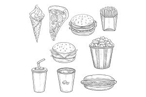 Fast food sandwiches, drink and dessert sketch