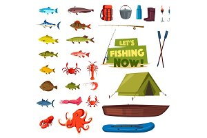 Fishing sport icon with fish, boat, rod, tackle