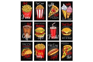 Fast food menu chalkboard poster set