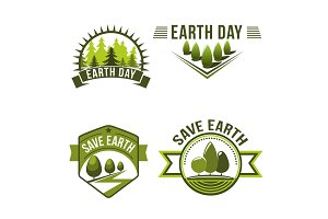 Earth Day, save planet, ecology symbol set