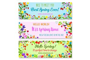 Vector banners with spring time greetings quotes