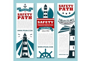 Lighthouse, nautical safety banner set design