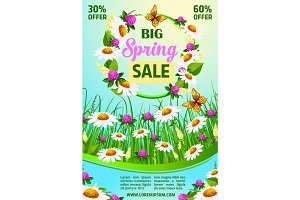 Spring holiday sale vector poster of flowers