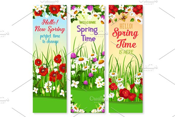 Spring Vector Wishes Banners And Flowers Bunches