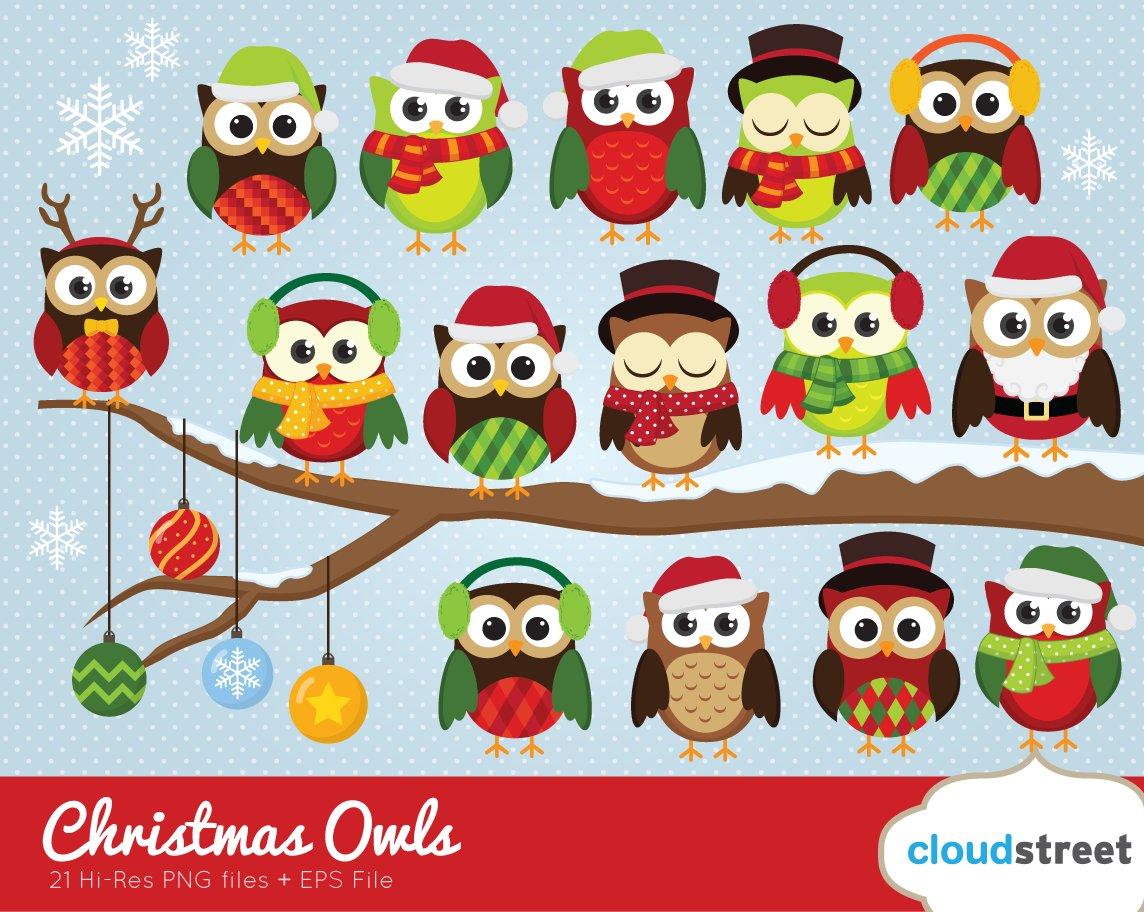 christmas owls clipart - Owl Christmas