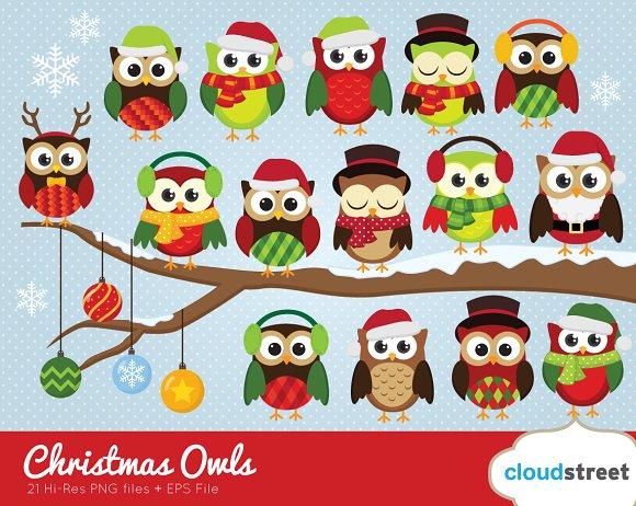 Christmas Owls Clipart ~ Illustrations ~ Creative Market