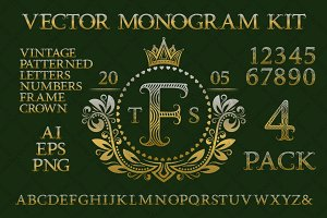 Vintage monogram kit pack 4