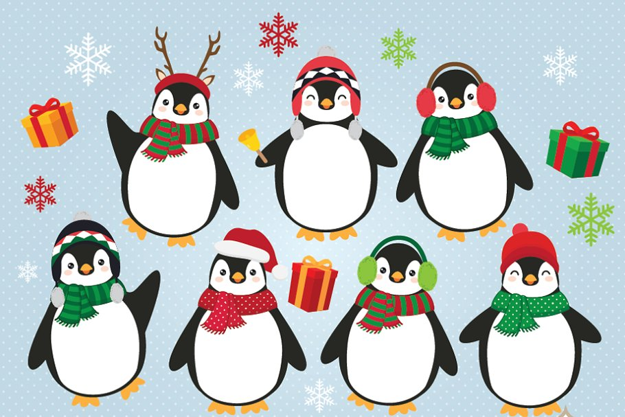 Christmas penguin. Penguins clipart
