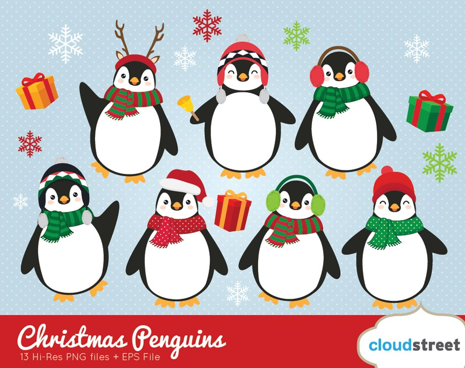 christmas penguins clipart illustrations creative market